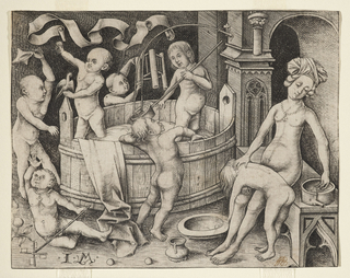 Two children stand in a large wooden tub of water surrounded by four children who play outside the tub.  At the right, a nude woman, seated on a gothic-style bench, bathes another child who is lying across her lap.
