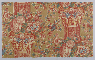 Predominantly red and blue pillar print with curling acanthus leaf capitals, flowers and birds in a half-drop repeat.