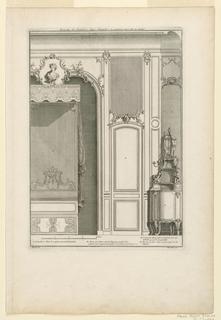 Print, Dessin de Lambris d'une chambre a coucher avec lit en niche