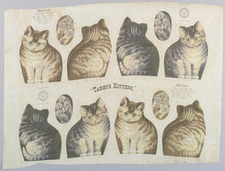 "Printed panel, entitled ""Tabby's Kittens"" with front, back and bottom views of four striped kittens, meant to be cut and sewn into stuffed toys. Sewing instructions are printed on the upper left and lower right sides. ""Arnold Print Works, North Adams, MA"" is printed on the upper right and lower left sides."