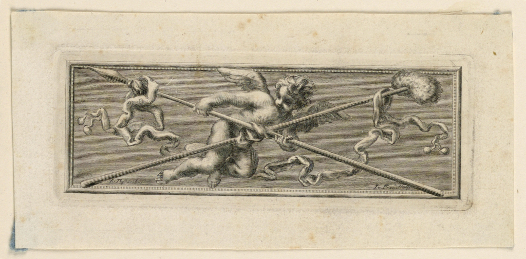 In the manner of high reliefs. A flying angel holds sponge, staff and spear.