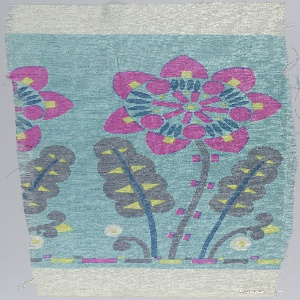 Stylized flower and leaf design printed in turquoise blue, bright pink, yellow, grey, white and dark blue.