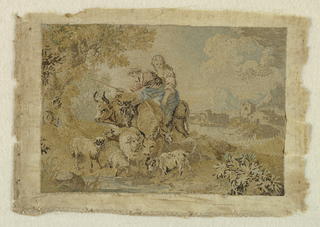 Picture of a girl on a donkey and a boy on a bull with a flock of sheep in a rural landscape done entirely in knot stitches.
