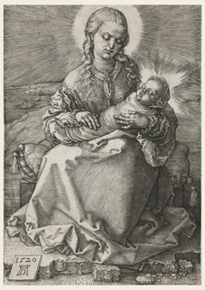 The Virgin holding the Child in her arms. It is wrapped in swaddling clothes.
