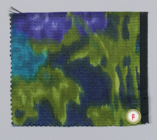 Diffuse allover floral pattern of turquoise, purple and green.