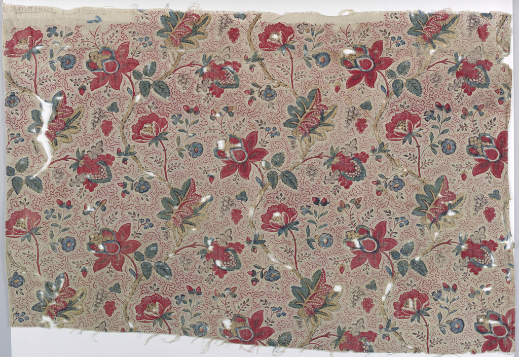 Polychrome design of flowers and stems on a vermicular background.