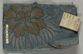 Reproduction textile inspired by a French eighteenth century example in the Cooper Union Museum collection. Design has figures in Chinese costume fishing in a small boat with water lilies and other plants on a blue ground.