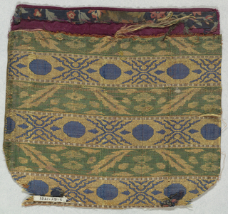 Sash fragment divided into narrow horizontal stripes. Stripes are alternately gold with blue geometric and linear pattern and green with pink and gold stylized flower and leaf pattern. One edge buttonholed, and the top is bound with magenta taffeta.