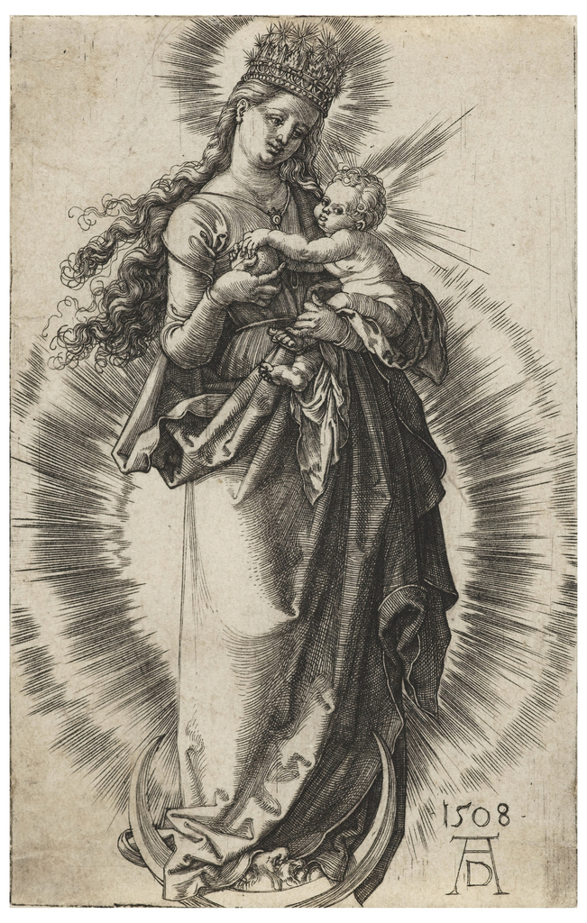 The Virgin stands on a crescent, wearing a crown of stars. She holds the Child in her left arm and presents fruit to Him.