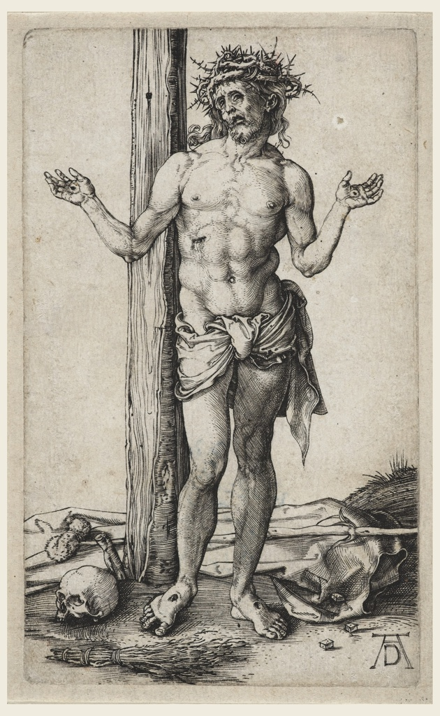 Christ is represented standing at the foot of a tree (the cross). His arms are extended and raised, wearing a crown of thorns.