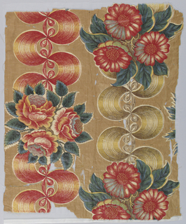 Lightweight glazed chintz with a tan ground printed in a pattern of natural size flower clusters in shades of red with green leaves. Clusters are in an alternate or staggered position joined by perpendicular, stiff, heavily curved ribbons with shaded effect probably by roller. Ribbons alternate in yellow or red.