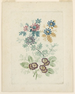 A floral arrangement, with two crossed stems. At bottom, rounded blossoms colored in purple and ochre with rounded light green leaves. Above, daisy-like formations in purple, pink, and blue, with variously colored, fern-like leaves: blue-green, teal, and orange. Upper blossoms contain bulbous botanical elements at center in colors to match the leaves.