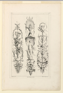 "Three ""candelabra-like"" arrangements of various motifs, characterized by, first: a pole entwined by snakes; second: Apollo with lyre; third: two putti painting. Inscribed, upper left: ""D""; upper right: ""4""; lower left: ""Oppenort inv.""; center: ""Avec privilege du Roi""; lower right: Huquier sculp. et ex."""
