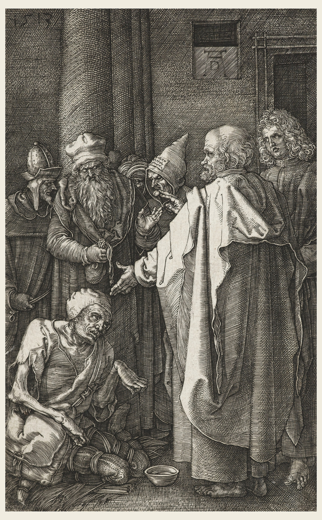 St. Peter stands at right, his left hand extended, and with his right hand gives his blessing to the crippled figure who kneels before him. St. John stands beside him. Four men stand in the background.