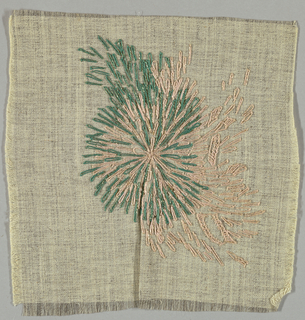 Square of gray cotton embroidered in pink, green and metallic thread in an abstract floral cluster.