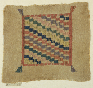 Square with a checkerboard pattern in colored wool