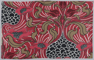Silk-like material printed in bold design in symmetrical arrangement of strong central flower and foliage with poppies branching at side. Red background, brown, green and lighter red for poppies, black areas. Shows influence of William Morris. Liberty tag attached.