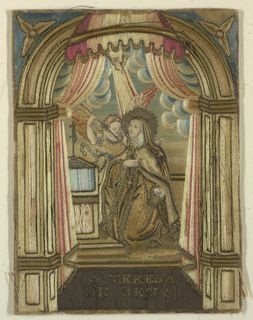 "Small picture, framed, and under glass. Shows figure of woman, kneeling before an altar, while an angel bends over her, pointing an arrow at her breast. Above, dove descending on rays of light. whole in architectural frame with canopy above. Embroidered in colored silks and some metal thread; appears to be laid work on a paper foundation. Faces and hands of engraved paper. Below: ""S. Teresa da Jesus."""