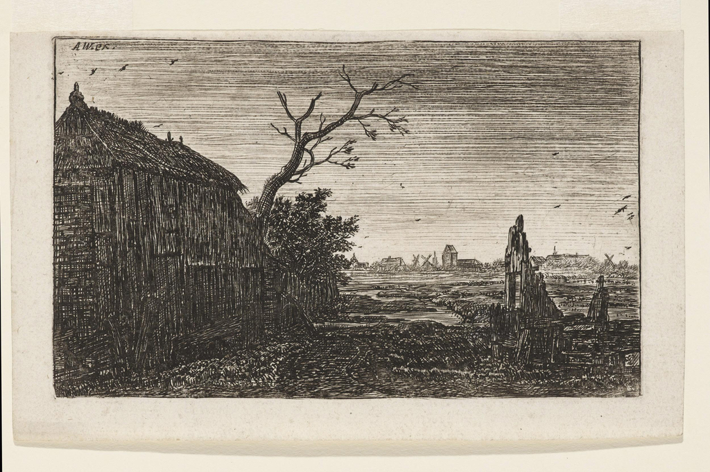 A dilapidated cottage at left, an old lock at right. Mud flats in middle distance. At horizon, a silhouette of a village. Some birds in the evening sky.