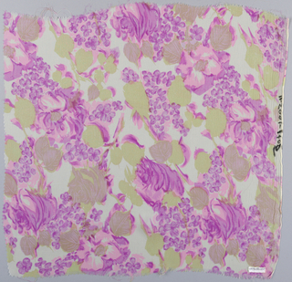 Sample of printed silk patterned by large-petal flowers and smaller flowers with leaves in tones of magenta, pink, and light green.