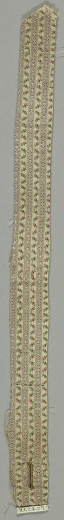 """Narrow fragment (portion of belt with buttonhole at one end) of uncut """"droguet"""" velvet. Narrow stripes of pale orchid pile in lozenge-shape alternating with minute blossoms of green, rose and browns on white silk foundation."""