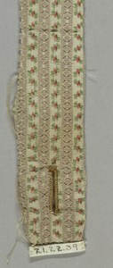 "Narrow fragment (portion of belt with buttonhole at one end) of uncut ""droguet"" velvet. Narrow stripes of pale orchid pile in lozenge-shape alternating with minute blossoms of green, rose and browns on white silk foundation."