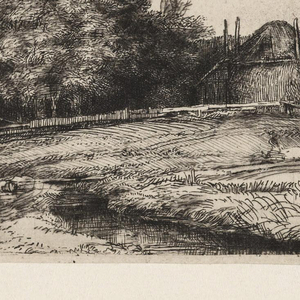 Left, a flock of sheep on a road, with figures beyond on the horizon. Right, large hay barn set in a thick grove of trees.