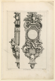 "Front and side view of a wall clock. Rectangular shape decorated with volutes in upper and lower part. Crowned with a vase set against foliage. Below, a dragon. Inscribed upper left: ""B""; upper right: ""3""; lower left: ""Oppenort inv.""; lower right: ""Huquier sculp.""; center: ""Avec privilege du Roi""."