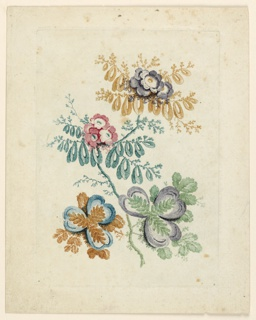A bouquet of fantastical flowers, colored in various hues, with looping leaves and spade-shaped petals, as well as more recognizable blossoms.