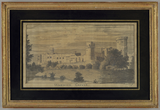 Picture of Warwick Castle in a landscape in silk on cream foundation. Glazed and framed with eglomisé glass.