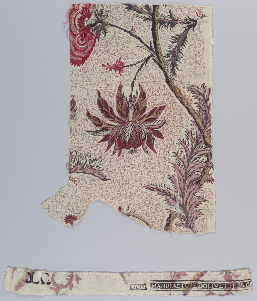 Two fragments of the same piece, one with a factory stamp. Design of stems, leaves and exotic flowers on a picotage background of oval shapes.