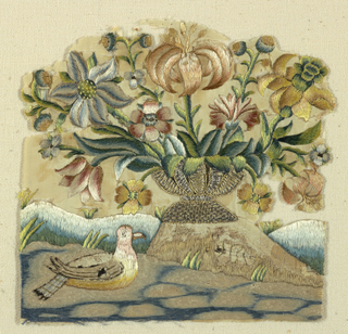 Fragment depicting a vase of flowers resting on the ground with a bird in the foreground.