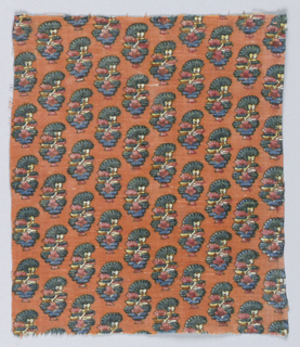 Diagonal rows of a flowering plant on an orange background. Fabric was meant to look Indian.
