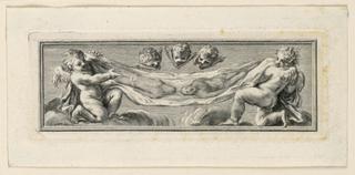 TWo kneeling angels hold, three cherubim gaze at the Sudarium.