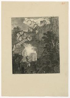 Print, Personnage sous une arcade faite d'architecture construite et de rochers, 1768, published 1770