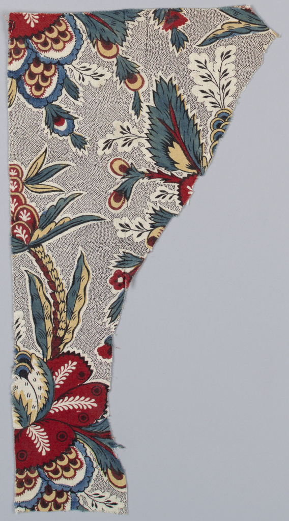 "Fragment of a bold floral pattern on a ""picotage"" background."