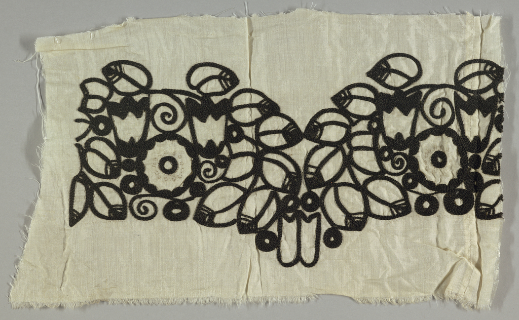 Sample for a scalloped border, embroidered in black on white.