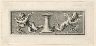 In the manner of high reliefs. The column is flanked by two flying angels with scourges.