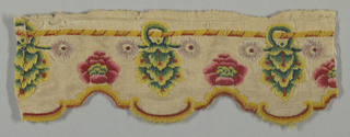 Scalloped scrap, wool twill backed with linen, heavily embroidered in polychrome wools in simple, stiff floral design, mostly in long and short stitch.