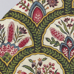 Small-scale design of overlapping rounded arches, each containing flowers growing from mounds. Each arch is composed of a green vine on a brown ground. Printed in black, purple, blue, green, yellow, and several shades of red and pink on an off-white ground. Overlapping arched forms contain a variety of plants growing from mounds. The framing device is brown with yellow edges and a green vine within.