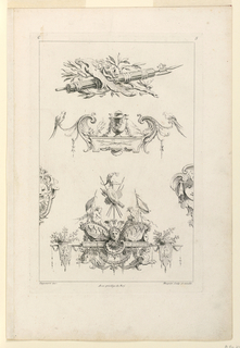 "Three ornamental compositions in sequence. First: a masque on a shield and bows; second: a vase on a pedestal; third: a female head attached to a console, surmounted by seated putti, flanked by flower baskets and masques. Inscribed, upper left: ""C""; upper right: ""5""; lower left: ""Oppenort inv.""; center: ""Avec privilege du Roi""; lower right: ""Huquier sculp. et excudit""."