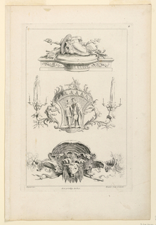 "Three ornamental compositions. First (upper): a console with fanciful arrangement of hats, etc. In middle: actors from an Italian comedy in an arabesque design. Third: head of a ram set against a shell. Inscribed, upper left: ""C""; upper right: ""4""; lower left: ""Oppenort inv.""; center: ""Avec privilege du Roi""; lower right: ""Huquier sculp. et excudit""."