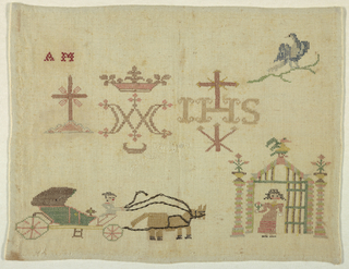 """Detached motifs including the Holy monogram, a bird on a branch, a woman standing at a gate, a carriage with horse and drivers and the initials """"A.M."""""""