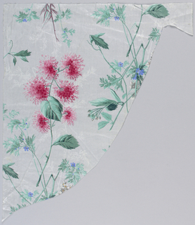 Unevenly shaped fragment, roller printed; background minutely striped in grey; cluster of pink flowers with blue-grey foliage, and white foliage in background.