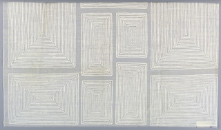 """Rectangles of varied size, each filled with concentric lines, in """"White on White Sheer"""" colorway."""