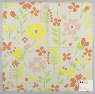 Sheer white plain weave printed with an abstract floral pattern in light green, yellow, pink, and orange. Number 797.