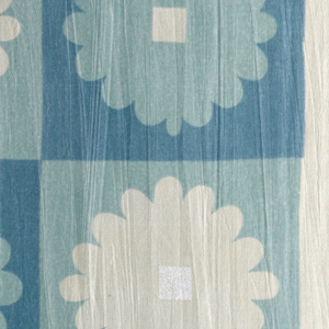 Printed sample with a checkerboard grid pattern of alternating squares: dark blue with a light blue flower with square white center, or light blue with white flower with square silver center.
