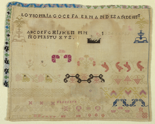 Signature, alphabet, and bands of pattern in tiny stitches; beadwork border on two sides.