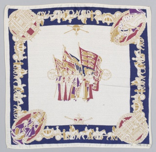 Square handkerchief has a central group of figures in robes and flags flanked by the date: May 12, 1937. In the border, the coronation procession with medallions at the corners showing: The King, The Queen, Buckingham Palace, and Westminster Abbey. Printed in red, blue, purple, and gold on a white ground.