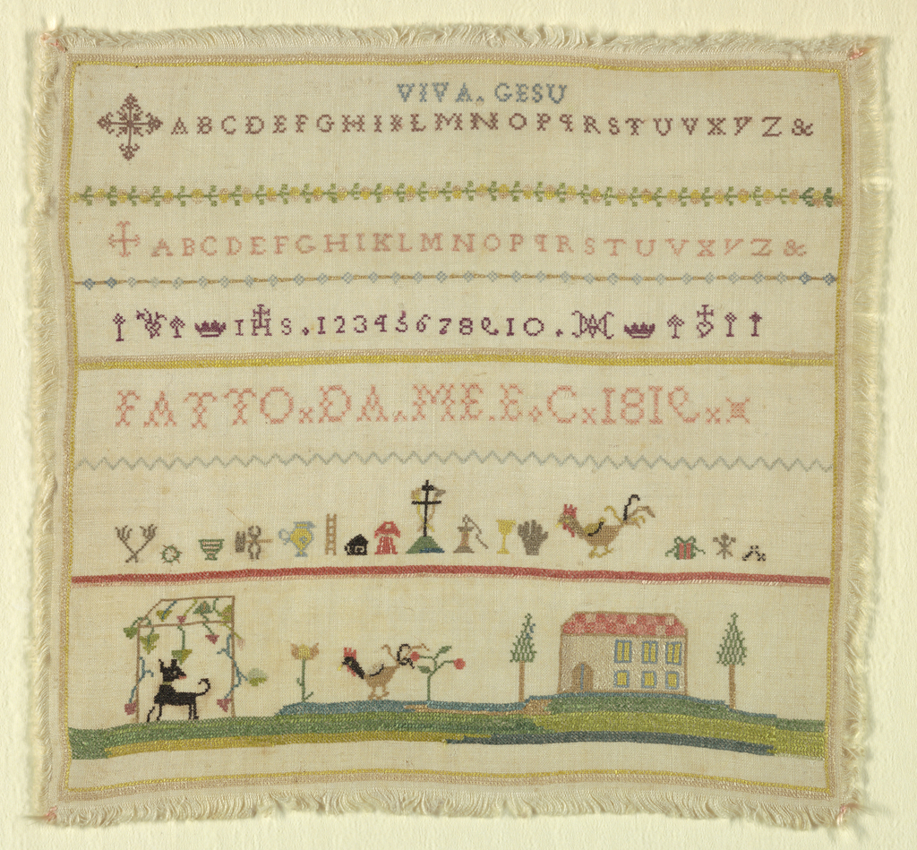 Bands of two alphabets introduced by Maltese crosses, signature, symbols of the passion and landscape.